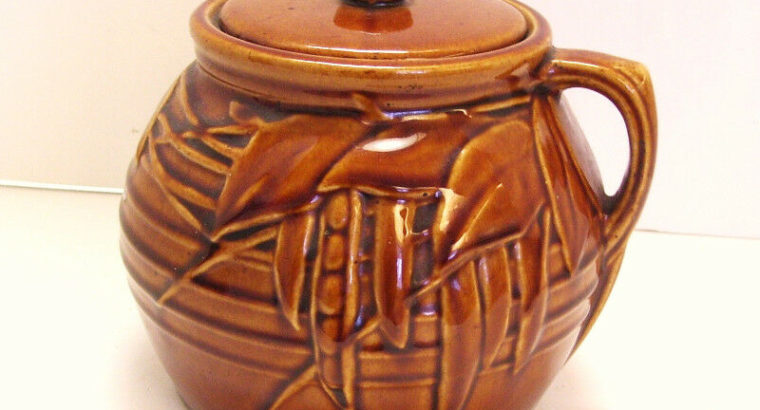 Antique Pottery Bean Pot Raised Relief Pattern Made in USA