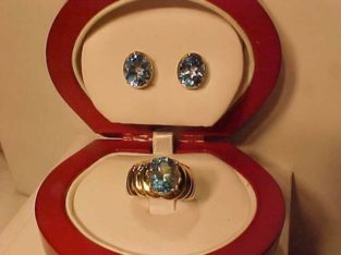 #3362-AQUA MARINE COLORED BLUE TOPAZ RING/EAR RING SET-Generous size stones-FREE SHIPPING & LAYAWAY-CANADA ONLY-$695.00