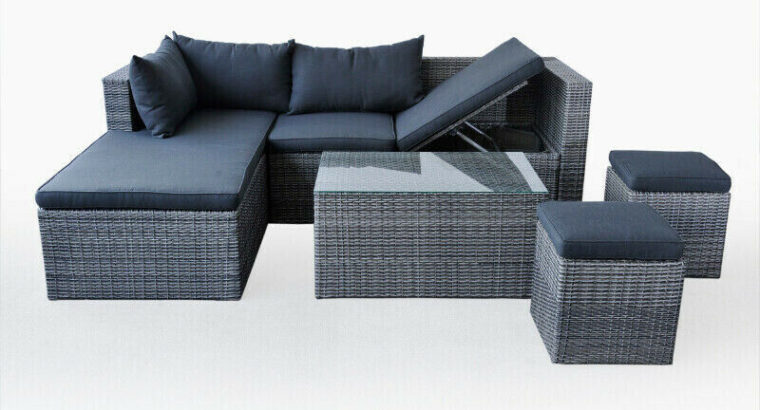 Texas Patio Lounging Sectional with Glass Table and Ottomans