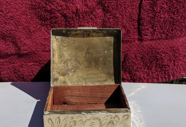 Small vintage brass sewing box