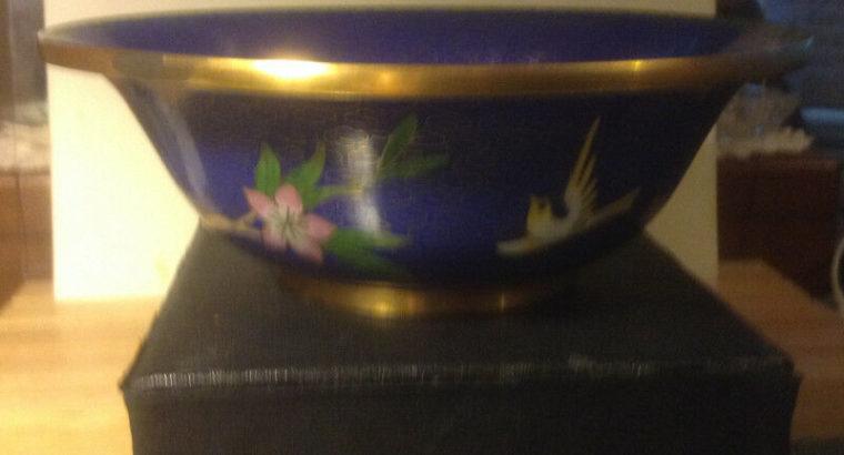 OLD CHINESE FLORAL BIRD CLOISONNE BLUE ENAMEL BOWL