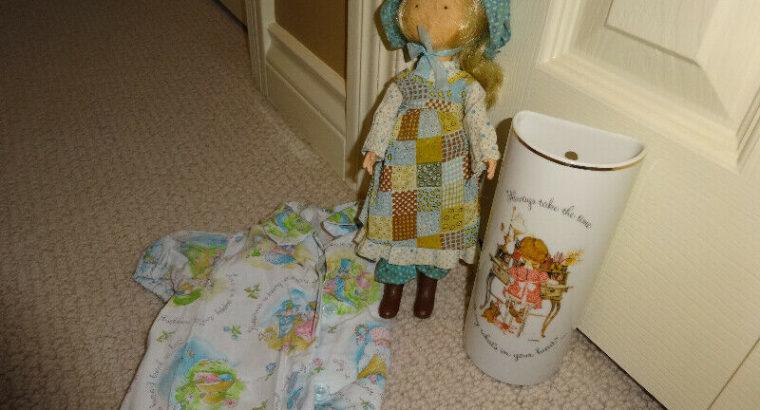 Holly Hobbie items:wall vase,baby shirt,doll, All good.Popular
