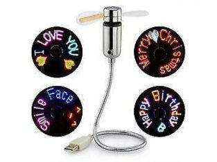 Promo! USB GADGETS FLEXIBLE DIY PROGRAMMABLE LED COLOR COOLING FAN,VARIOUS MESSAGE DISPLAY