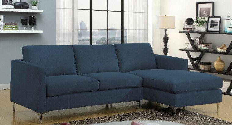 WAREHOUSE SALE – NEW Modern Blue sectional w/ chrome legs