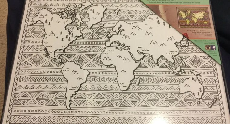 BN Colour In world map print in black frame