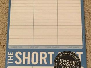 BN The long/short list notepad