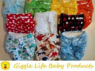SALE! Giggle Life Cloth Diapers Reuseable Baby 7-36lbs Adjustable Trainers Disposable Liners Bamboo Adult