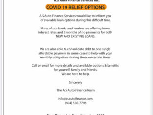 COVID 19 FINANCE RELIEF OPTIONS