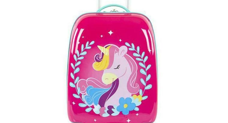 Unicorn Fashion Spinner Hardside Rolling Luggage for Kids – 18 Inch [Pink]