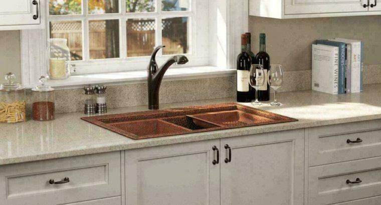 Hand-hammered 31.5 Single Bowl Dual-Mount Copper Ledger Sink