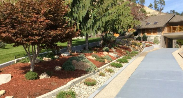 Landscaping- rock, grass and trees