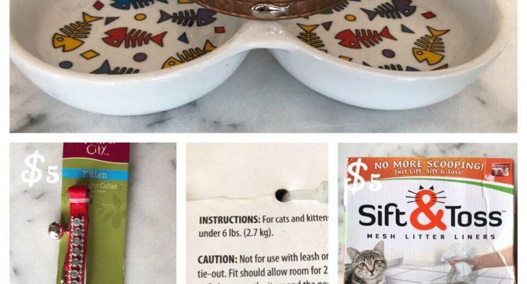 Cat collar, cat food & Water Dish & Sift & Toss Litter Liners
