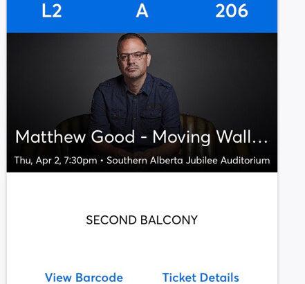 2 tickets to Matt Good in Calgary