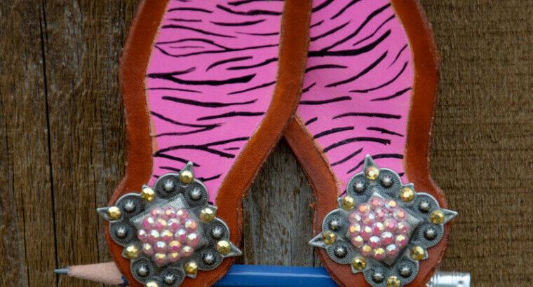 Pink zebra and blue zebra headstalls