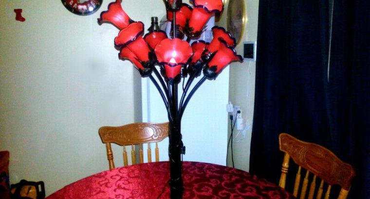 Antique Art Nouveau figural Red Tulip Lamp 11 Hand Blown Shades