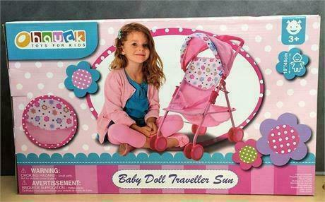 New, Baby Doll Stroller Pink Flowers Hood Preschool Girls Pretend Play Ages 3+