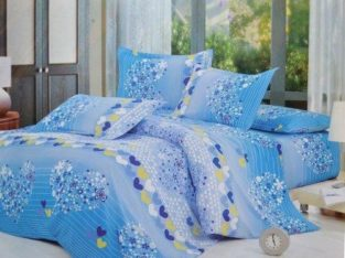 Todd Linen Heart Flower Pattern 3 Pcs Queen Set 1 Duvet Cover + 2 Pillow Case Bedding Set