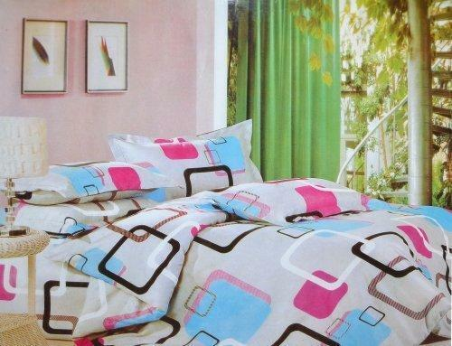 Todd Linen Square Geometric 3 Pcs Queen Set 1 Duvet Cover + 2 Pillow Case Bedding Set