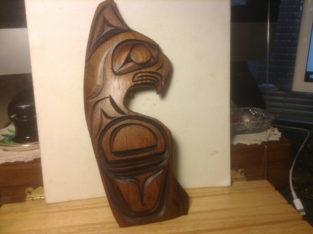 Vintage Northwest Coast Native Art Jumping Killer Whale sculptur