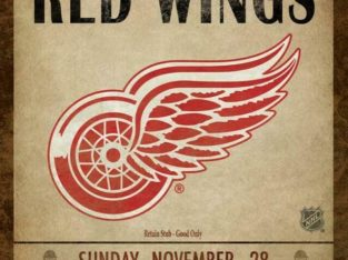 Detroit Red Wings Classic Ticket Framed Canvas Print (New)