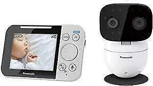 Promo! Panasonic Long Range Video Baby Monitor with 2 Way Talk, Remote Pan/Tilt/Zoom and Lullaby (KX-HN3051C), White