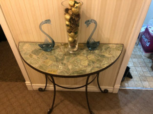 Beautiful side half stone work table with decor