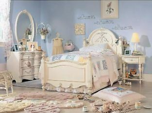 Bed Frame Double Size, Side table and Mirror