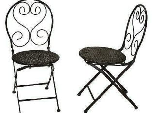 Fleur De Lis Living Hillesden Indoor/Outdoor Metal Folding Patio Dining Chair with Wicker