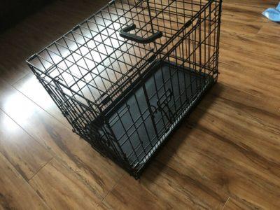 Folding Doubles-door dog metal crate cage