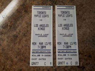 Gretzky Goals 808 & 816 Tickets – Kings vs Leafs – 1995
