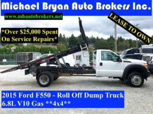 2015 FORD F550 – ROLL OFF DUMP TRUCK *4X4* 6.8L V10 GAS *RARE*