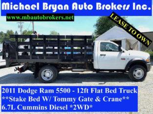 2011 Dodge Ram 5500 – 12FT FLAT BED TRUCK W/ CRANE + TOMMY GATE