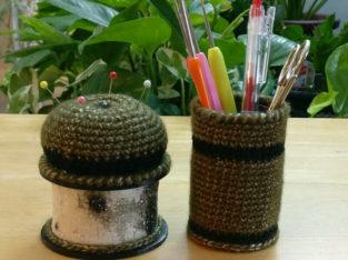 Pincushion Set – Pincushion, box, and crochet hooks container.