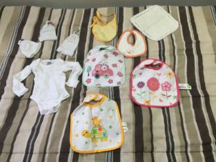 Baby clothing, bibs, and hats