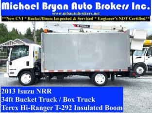 2013 ISUZU NRR 34FT BUCKET TRUCK / BOX TRUCK **ONLY 38K** RARE