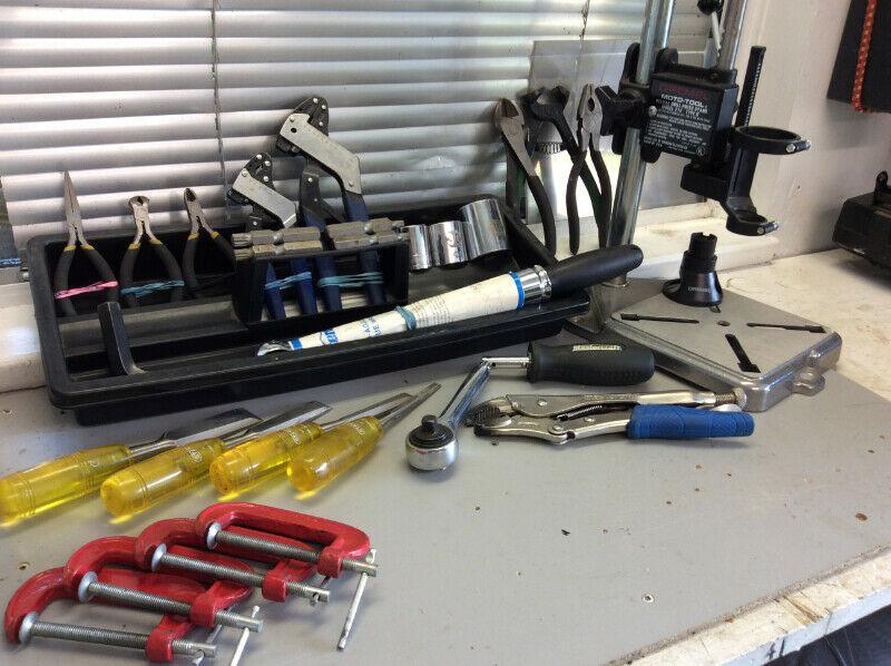 Hand tools. triple square bits. Vise grip. Dremel drill press.