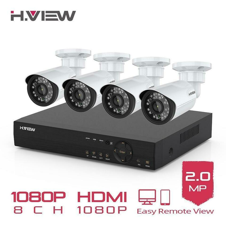 Protect your Property !!! H.VIEW 8CH 1080P Camera Security System Free Fast Shipping