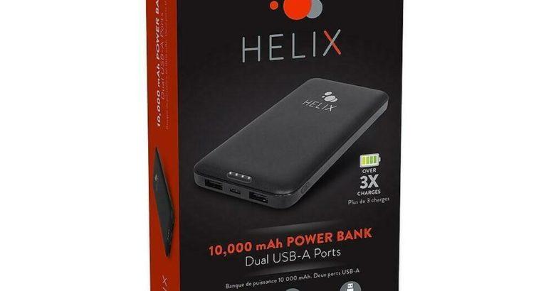 Helix ETHPB10 10k mAh Power Bank with Dual USB-A (Open Box)