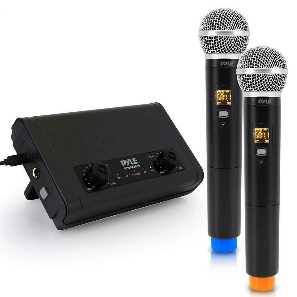 PYLE PDWM2850 2-Channel Compact UHF Dual Wireless Microphone System