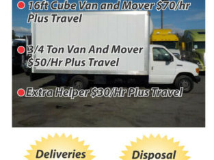 Deliveries, Moving And Disposal From $40/hr Plus Fees