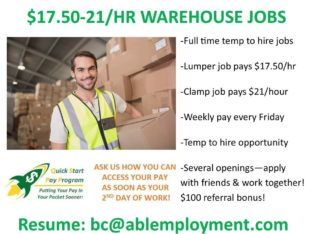 $17.50/HR LUMPER GENERAL LABOUR JOBS IN PORT COQUITLAM